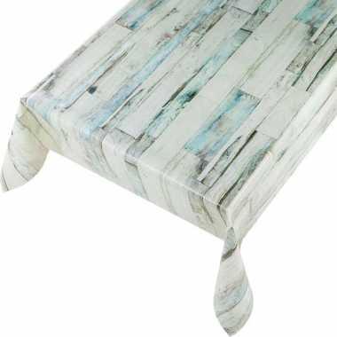 Grijsblauwe houten planken print tuin tafellaken voor buiten 140 x 245 cm pvc/kunststof
