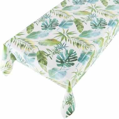 Groen tuin tafellaken voor buiten jungle bladeren botanische print 14