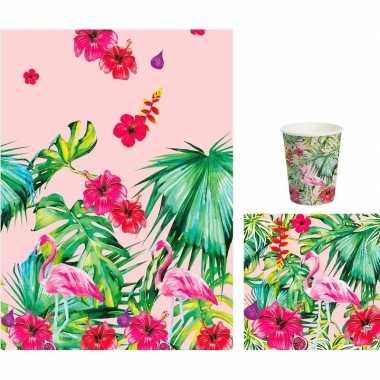 Hawaii thema feest bekers/servetjes en tafellaken roze/groen