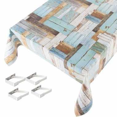 Hout print blauw tuin tafellaken voor buiten 140 x 245 cm pvc/kunstst