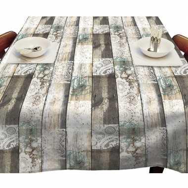 Houten planken met kant tuin tafellaken voor buiten 140 x 250 cm pvc/kunststof