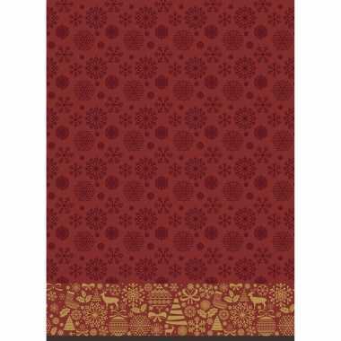 Kerst thema tafellakens/tafelkleden donkerrood 138 x 220 cm