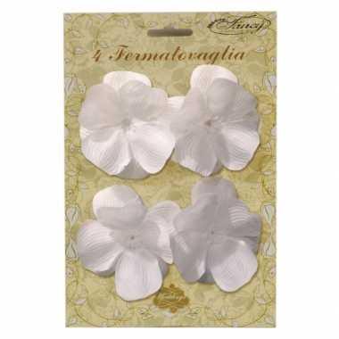 Klemmetjes met witte bloemen voor tafelkleed 4 stuks