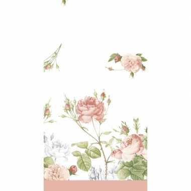 Lente voorjaar bloemenprint tafelkleed tafellaken pioenroosjes 138 x 220 cm van papier