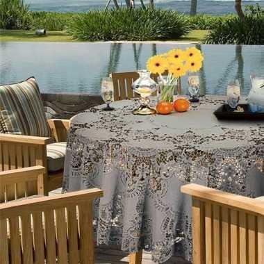 Lichtgrijs tuin tafellaken voor buiten 180 cm rond van kunststof