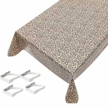 Luipaard print tuin tafellaken voor buiten 140 x 245 cm pvc/kunststof