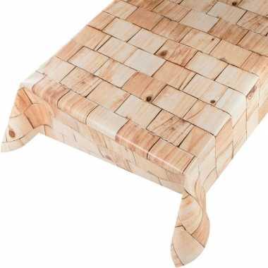 Naturel houten blokken print tuin tafellaken voor buiten 140 x 175 cm pvc/kunststof