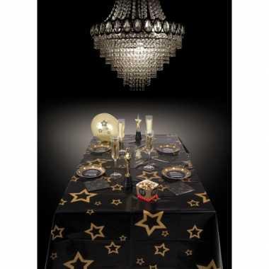 Oud en nieuw tafelkleed met gouden sterren 130 x 180 cm