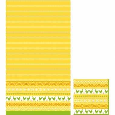 Pasen thema feest servetjes en tafellakens/tafelkleden kip print geel