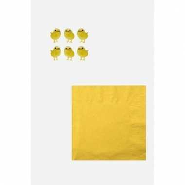 Pasen versiering voor op tafel wit/geel
