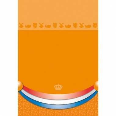 Plastic koningsdag tafelkleed oranje 180 x 130 cm