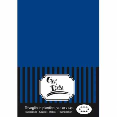 Plastic tafelkleed donkerblauw 140 x 240 cm