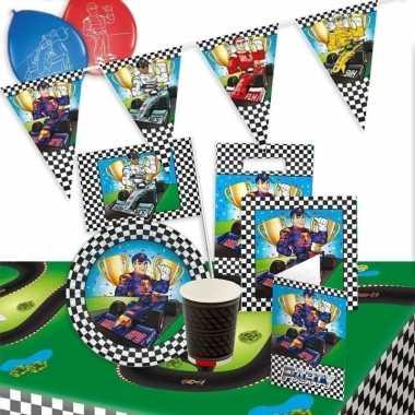 Race/formule 1 kinderfeestje feestartikelen pakket voor 8 personen