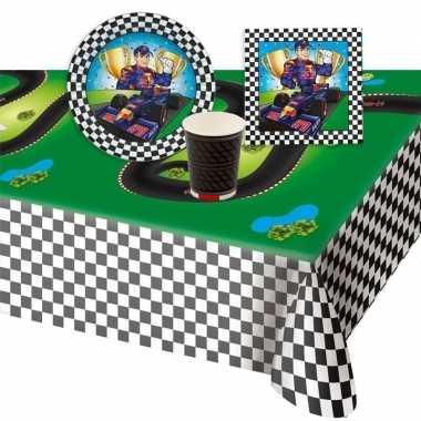 Race/formule 1 kinderfeestje tafel feestartikelen pakket voor 8 perso