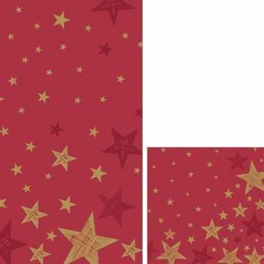 Rode/gouden kerst thema feest servetjes en tafellakens/tafelkleden
