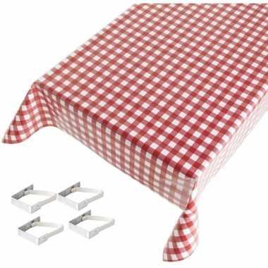 Rood tuin tafellaken voor buiten ruiten print 140 x 240 cm pvc/kunsts