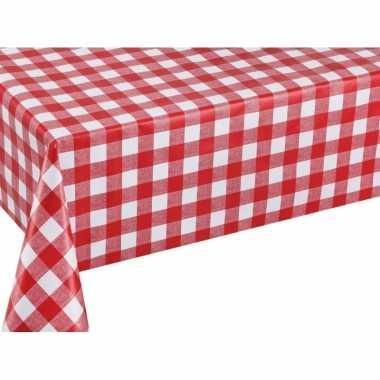 Rood tuin tafellaken voor buiten ruitjes print 140 x 200 cm pvc/kunststof