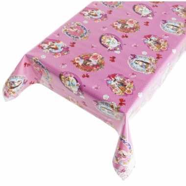 Roze tafellaken vrolijk motief 140 x 240 cm