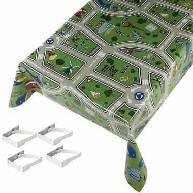 Speelkleed patroon tuin tafellaken voor buiten kinderen 140 x 245 cm pvc/kunststof met aluminium klemmen