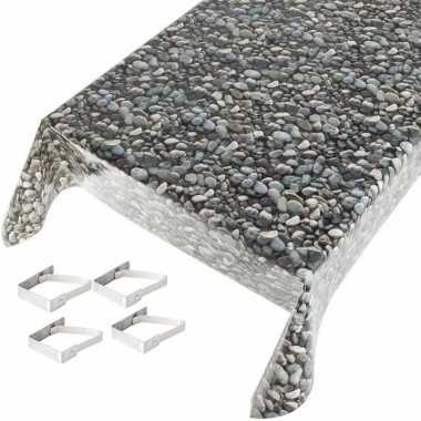 Stenen print tuin tafellaken voor buiten 140 x 170 cm pvc/kunststof m