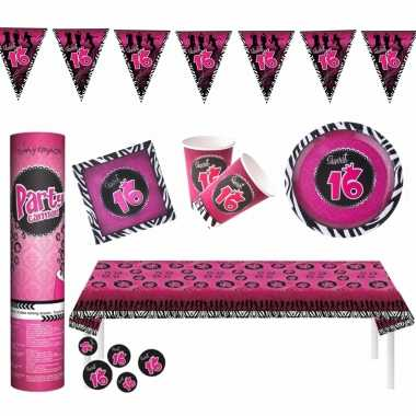 Sweet sixteen thema verjaardag feestartikelen pakket voor 16x personen