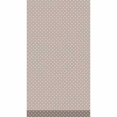 Tafelkleed/tafellaken bruin met witte stippen 138 x 220 cm van papier