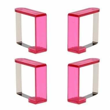 Tafelkleedklemmen roze 4 stuks