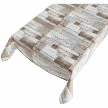 Tafellaken houten planken motief 140 x 170 cm