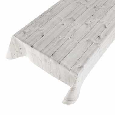 Tafelzeil met houtmotief grijs 140 x 170 cm