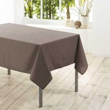 Taupe tafellaken voor binnen 140 x 250 cm polyester stof/textiel