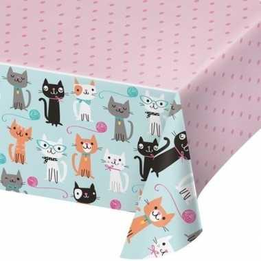 Thema tafelkleed katten roze 137 x 259 cm