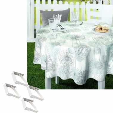 Tuin tafellaken voor buiten paardenbloem pluisjes print 160 cm rond pvc/textiel met aluminium klemmen