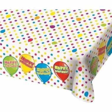Verjaardag tafelkleed met ballonnen 180 cm