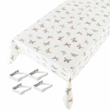 Vlinders print tuin tafellaken voor buiten 140 x 245 cm pvc/kunststof met aluminium klemmen