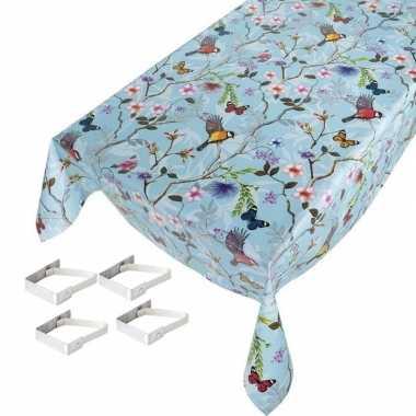 Vogels/vlinders print tuin tafellaken voor buiten 140 x 245 cm pvc/ku