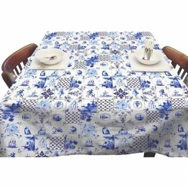 Wit/blauw tuin tafellaken voor buiten delfts/hollandse tegels print 1