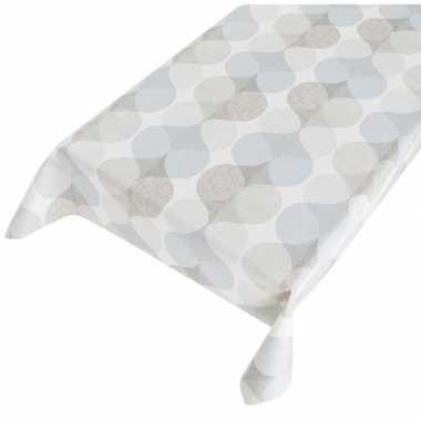 Wit/grijs/blauw tuin tafellaken voor buiten grafischs print 140 x 240