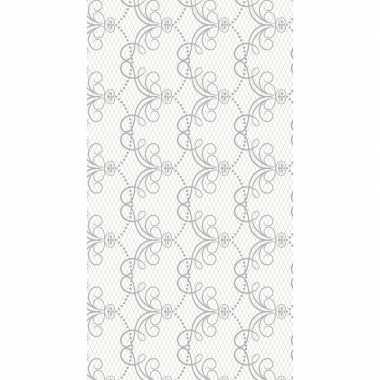 Wit grijs chique baroque tafelkleed tafellaken roosjes 138 x 220 cm van papier