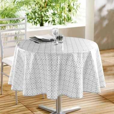 Wit/grijs tuin tafellaken voor buiten grafische print 160 cm pvc/kuns