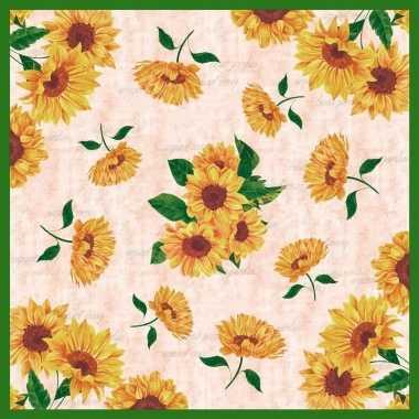 Wit/groene zonnebloemen napperons/dekservetten 84 x 84 cm