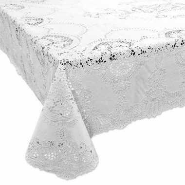 Wit tuin tafellaken voor buiten 137 x 180 cm rechthoekig van kunststo