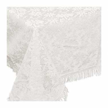 Witte tuin tafellaken voor buiten 150 x 220 cm rechthoekig van kunsts
