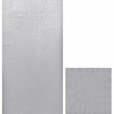 Zilver thema feest servetjes en tafellakens/tafelkleden