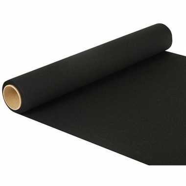 Zwarte tafelkleed loper/placemats 480 x 40 cm