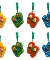 16x buitentafelkleed gewichten gekleurde flipflops slippers 4 cm