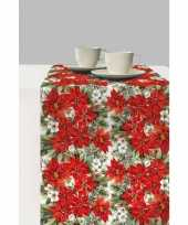 1x kunststof kerst tafellopers met kerstster bloemen print 600 x 33 cm