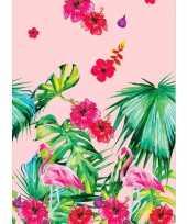 1x zomers thema feest tafelkleden tafellakens 138 x 220 cm flamingo print roze groen