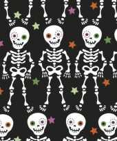 20x halloween horror zwarte servetten day of the dead print 33 x 33 cm
