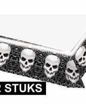 2x feestartikelen plastic tafelkleed schedel 137 x 243 cm