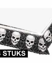 3x feestartikelen plastic tafelkleed schedel 137 x 243 cm